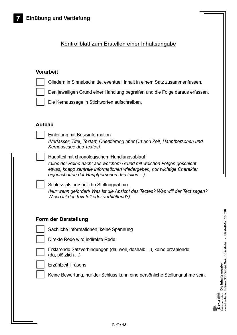 Die Inhaltsangabebr8 Unterrichtseinheiten Mit Fix Und Fertigen