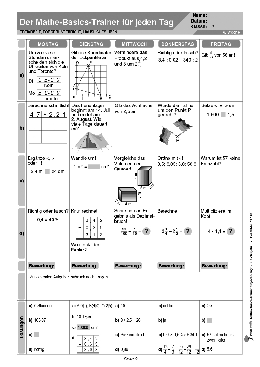 Mathe-Basics-Trainer / Klasse 7